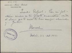 Carta manuscrita de Marcos Redondo a Rafael Fernández-Shaw en la que le felicita por su onomástica.