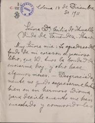 Cartas de Luisa Goldmann, viuda de Johannes Fastenrath, a Carlos Fernández Shaw y Cecilia Iturralde, su esposa.