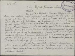 Carta manuscrita de Marcos Redondo a Rafael Fernández-Shaw en la que le comenta su gira prevista por provincias y le pide que haga gestiones para ir a Madrid.