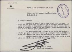 Carta mecanografiada de Jaime de Foxá a Rafael Fernández-Shaw, contestando a la suya de agradecimiento por sus palabras en el acto de dar el nombre de su padre y hermano a una calle de Madrid.