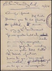 Versos de agradecimiento dirigidos a Antonio Fernández-Cid / Rafael Fernández-Shaw.