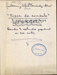 Fuera de combate : comedia de costumbres populares en tres actos / Guillermo y Rafael Fernández-Shaw.