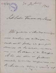 Cartas de José Moreno Carbonero a Carlos Fernández Shaw.