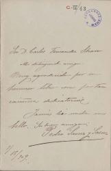 Cartas de Pedro Saenz y Saenz a Carlos Fernández Shaw.