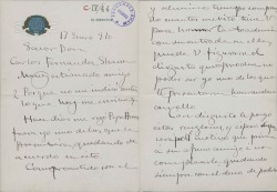 Cartas de José Villegas a Carlos Fernández Shaw.