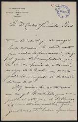 Cartas de Bartolomé Maura a Carlos Fernández Shaw y Cecilia Iturralde, su esposa.
