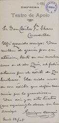 Cartas de Enrique Arregui a Carlos Fernández Shaw.
