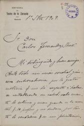 Cartas de Rafael Reynot a Carlos Fernández Shaw.