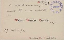 Cartas de Miguel Ramos Carrión a Carlos Fernández Shaw.