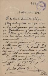 Cartas de Francisco Flores García a Carlos Fernández Shaw.