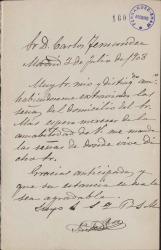 Cartas de Nicolás Pérez a Carlos Fernández Shaw.