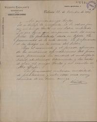 Cartas de Vicente Escalante a Carlos Fernández Shaw.