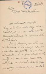 Cartas de Francisco Giner de los Ríos a Carlos Fernández Shaw y Cecilia Iturralde, su esposa.