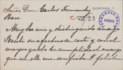 Cartas de la Marquesa Viuda de Nájera a Carlos Fernández Shaw.