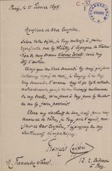 Cartas, en francés, de François Coppée a Carlos Fernández Shaw.