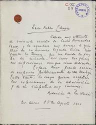 Cartas de Juan Pablo Echagüe a Carlos Fernández Shaw.