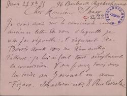 Cartas, en francés, de A. E. Vincent a Carlos Fernández Shaw.