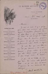 Cartas, en francés, de Paul Milliet a Carlos Fernández Shaw y Cecilia Iturralde, su esposa.