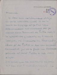 Cartas, en francés, de Jean Aubrin a Cecilia Iturralde, viuda de Carlos Fernández Shaw.