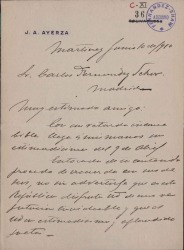 Cartas de José A. Ayerza a Carlos Fernández Shaw.