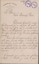 Cartas del Capitán General Camilo García de Polavieja a Carlos Fernández Shaw y Alfredo Escobar.