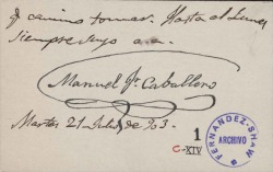 Cartas de Manuel Fernández Caballero a Carlos Fernández Shaw.