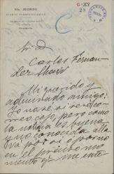Cartas de Alejandro Pérez Lugín a Carlos Fernández Shaw.