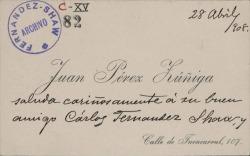 Cartas de Juan Pérez Zúñiga a Carlos Fernández Shaw y Cecilia Iturralde, su esposa.