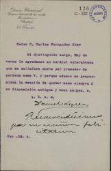 Cartas de Daniel López a Carlos Fernández Shaw.