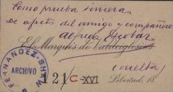 Cartas de Alfredo Escobar, Marqués de Valdeiglesias, a Carlos Fernández Shaw.