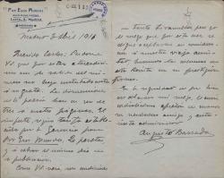 Cartas de Augusto Barrada a Carlos Fernández Shaw y Cecilia Iturralde, su esposa.