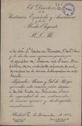 Cartas de Alejandro Moreno y Gil de Borja a Cecilia Iturralde, viuda de Carlos Fernández Shaw.