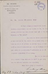 Cartas de Santiago Mataix a Carlos Fernández Shaw.