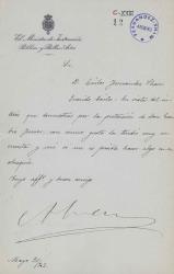 Cartas de Álvaro Figueroa, Conde de Romanones, a Carlos Fernández Shaw, Eusebio Ferrer y Daniel Iturralde.