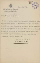Cartas de Faustino Rodríguez San Pedro a Prudencio Rovira, José Sánchez Guerra y Antonio Maura.