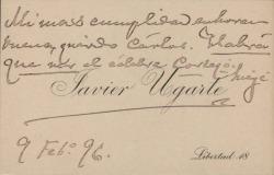 Cartas de Javier Ugarte a Carlos Fernández Shaw y Cecilia Iturralde, su esposa.