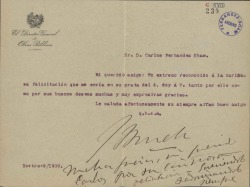 Cartas de Julio Burell a Carlos Fernández Shaw, Cecilia Iturralde, su esposa, y Luis de Armiñán.