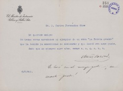 Cartas de Amós Salvador a Carlos Fernández Shaw.