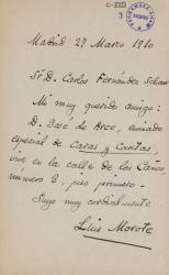 Cartas de Luis Morote a Carlos Fernández Shaw.