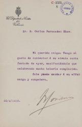 Cartas de Rodrigo Soriano a Carlos Fernández Shaw.