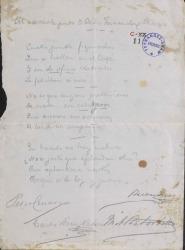 Poesía humorística dedicada a Carlos Fernández Shaw firmada por cuatro personas.