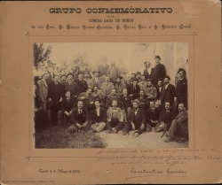 Fotografía de un grupo en una comida en honor de Miguel Ramos Carrión, Vital Aza y Ruperto Chapí. (Toledo)