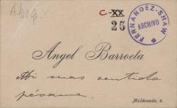 Tarjeta de visita de Ángel Barroeta a Carlos Fernández Shaw.