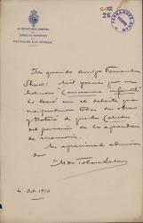 Cartas de Manuel de Tolosa Latour a Carlos Fernández Shaw.