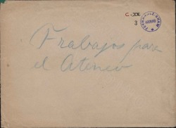 Trece cuartillas conteniendo borradores de cartas y programas relacionados con diversos actos del Ateneo de Madrid.