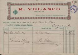 """Factura del impresor R. Velasco por la obra de Carlos Fernández Shaw """"La vida breve"""". (Madrid)"""