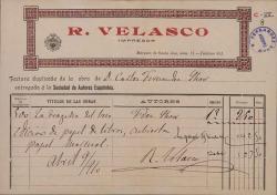 """Factura del impresor R. Velasco por la obra de Carlos Fernández Shaw """"La tragedia del beso"""". (Madrid)"""