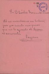 """Cuarteta festiva firmada por """"Troyano"""" pidiendo un habano a Carlos Fernández Shaw."""
