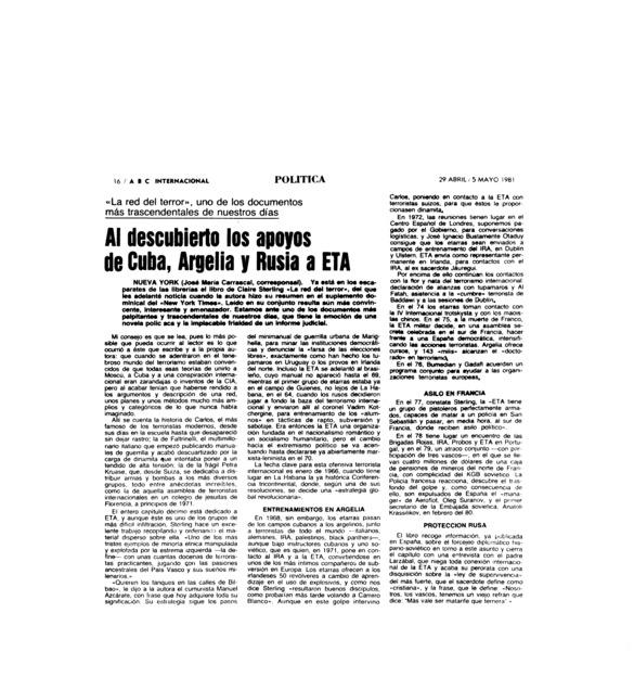 Al descubierto los apoyos de Cuba, Argelia y Rusia a ETA