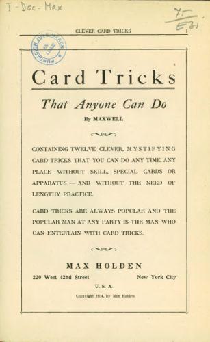 Book : Card tricks that anyone can do